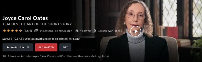 Author Joyce Carol Oates teaching an online class