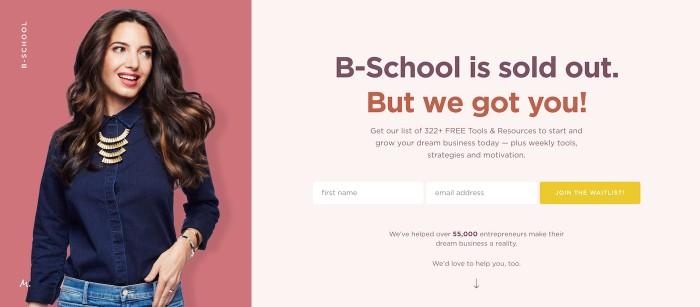 Marie Forleo B School landing page