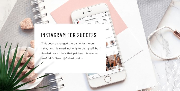 Promotional banner for Instagram for Success course with image of iPhone in the background