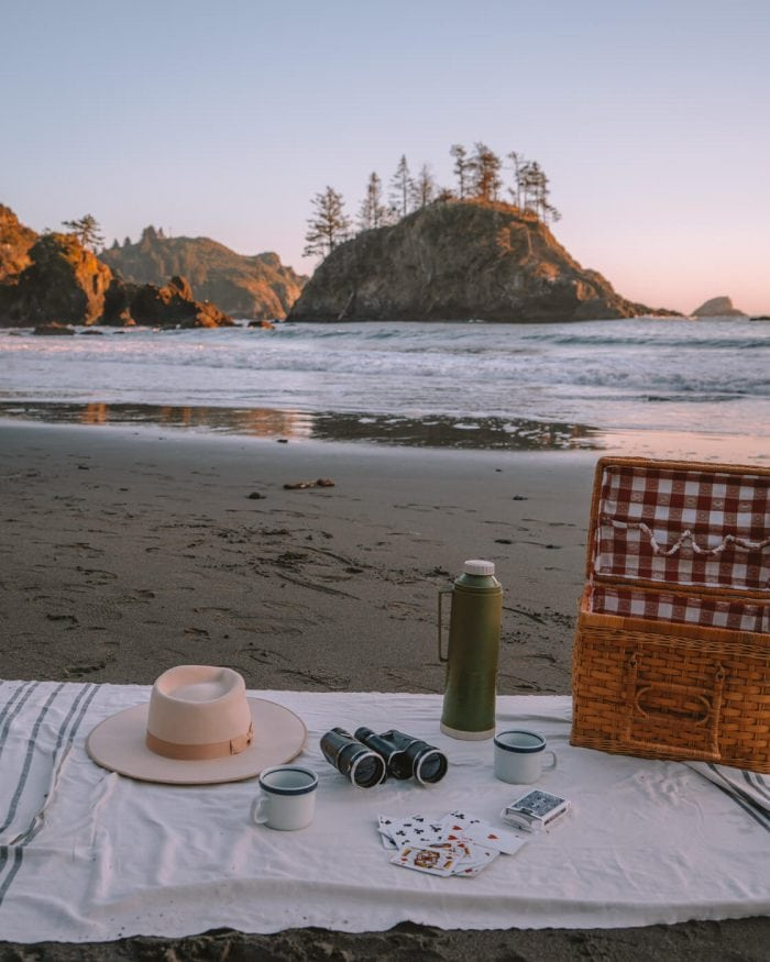 Picnic blanket at College Cove, Trinidad in California