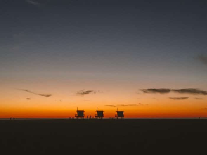 Sunset of lifeguard towers in Venice Beach