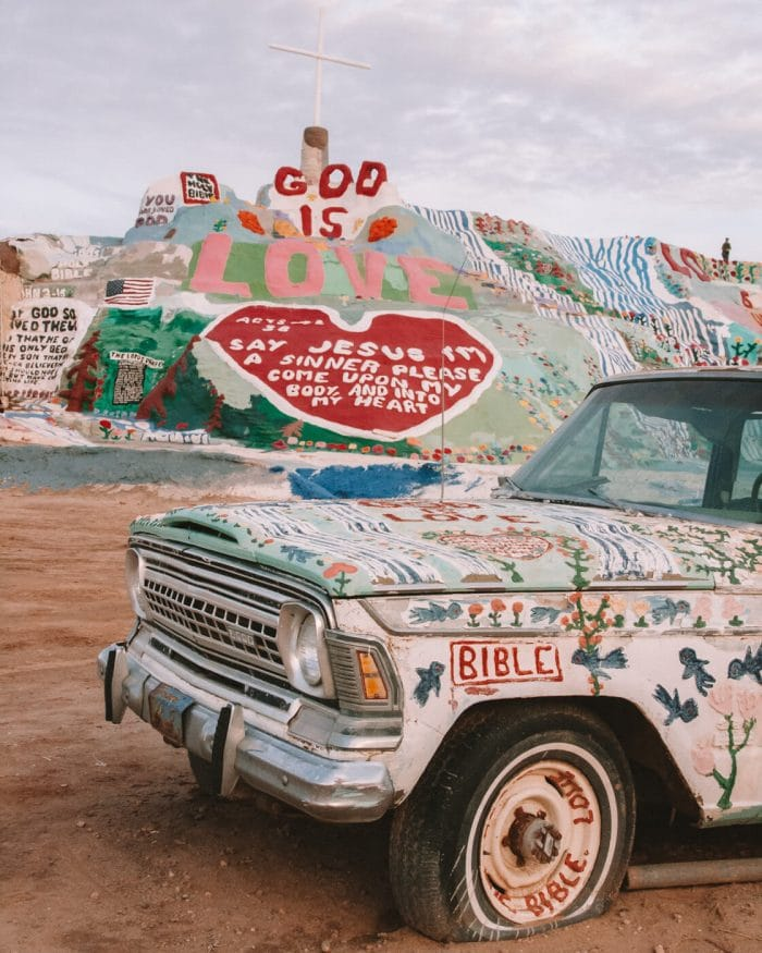 Salvation Mountain and painted car