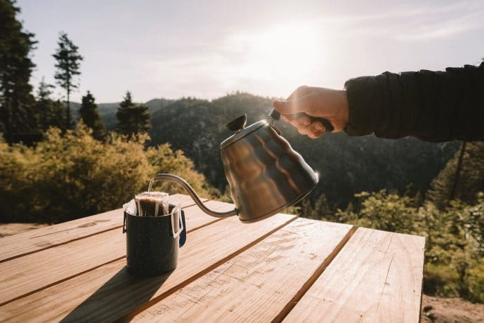 Pourover coffee at the Getaway House in Big Bear