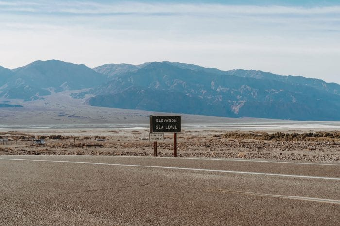 Death Valley elevation sign