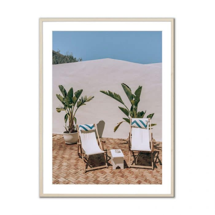 Fine art travel photography print of beach lounge chairs in Portugal