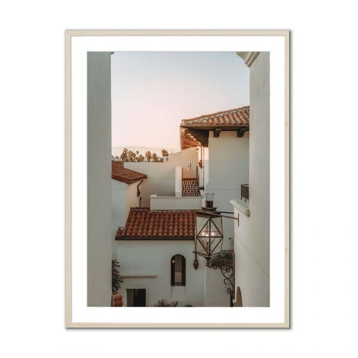 Fine art travel photography print of spanish style architecture at Hotel Californian in Santa Barbara