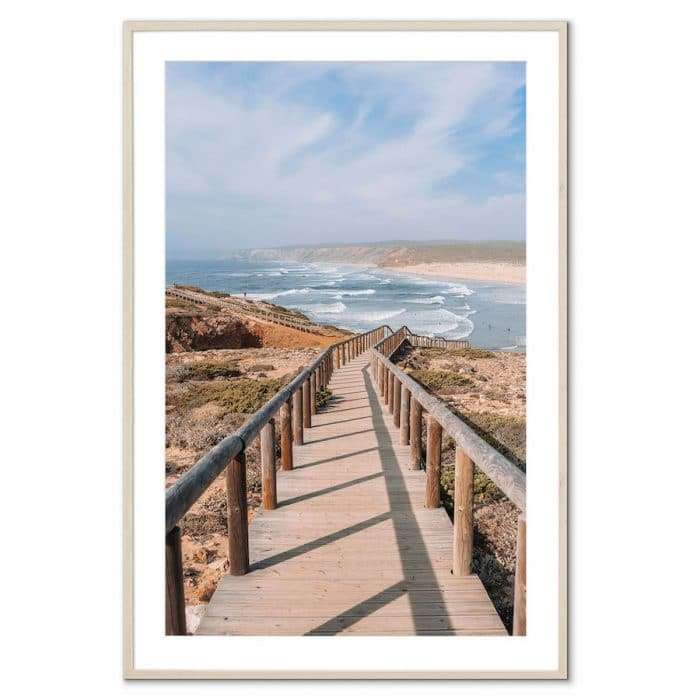Fine art travel photography print of boardwalk at a beach in Portugal