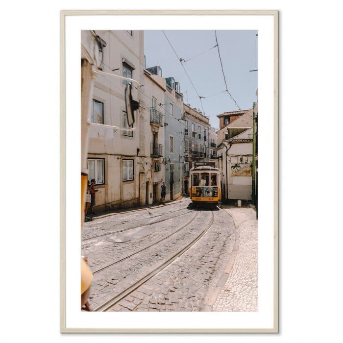 Fine art travel photography print of a trolley on the streets of Lisbon, Portugal
