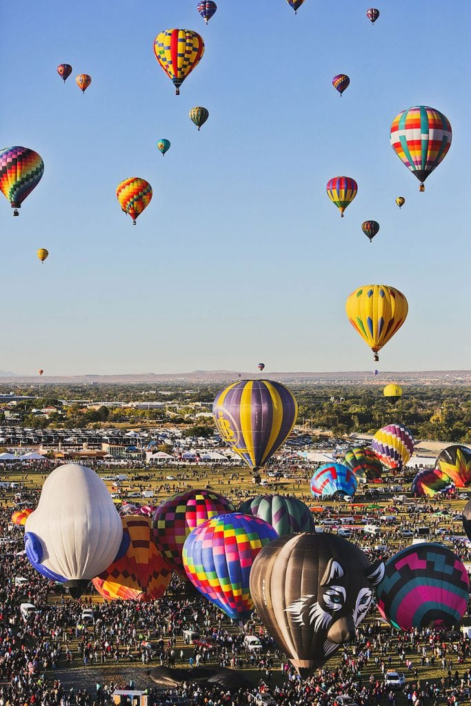Balloons in the air at the Albuquerque balloon festival