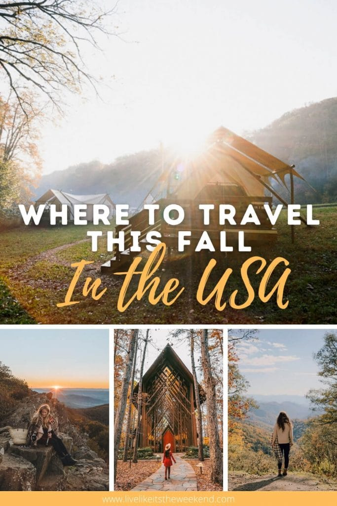 Pinterest collage of best fall travel destinations
