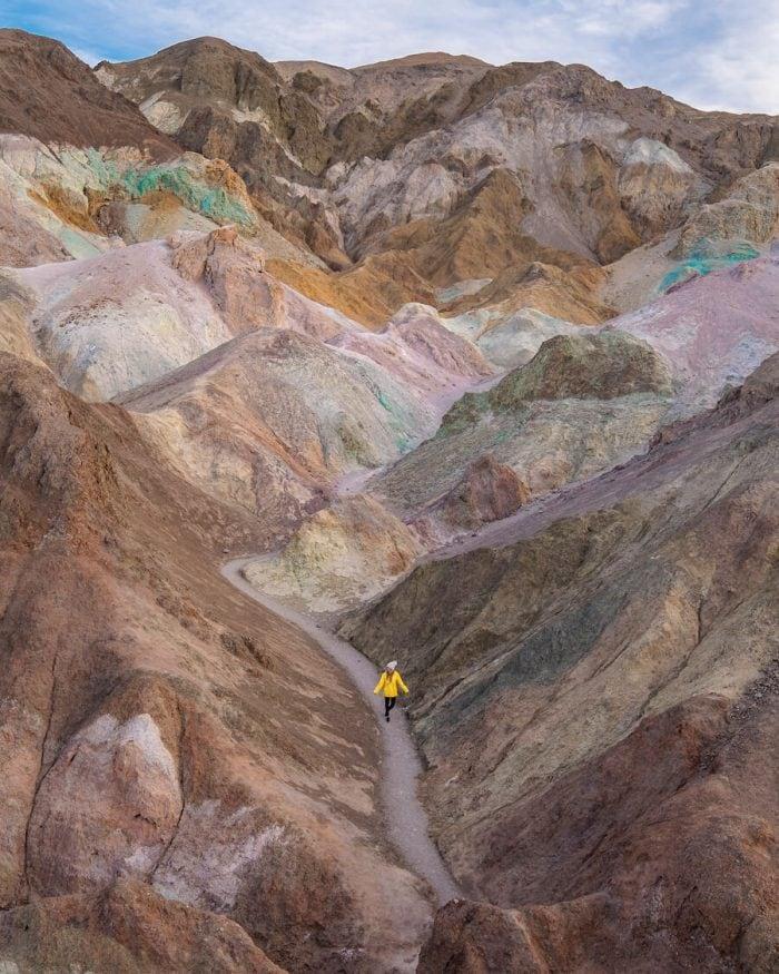 Trail through artist's palette, death valley