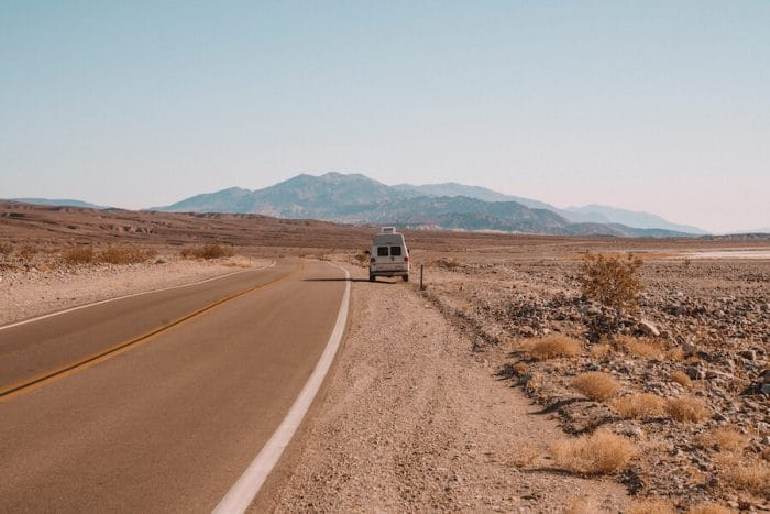Camper van on the side of the road in Death Valley