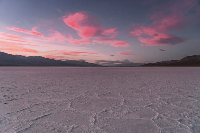 Pink sunset over Badwater Basin in Death Valley