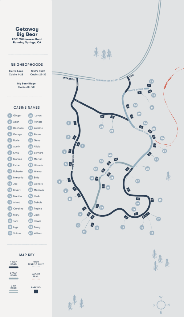 Map of the Getaway House cabins near Los Angeles