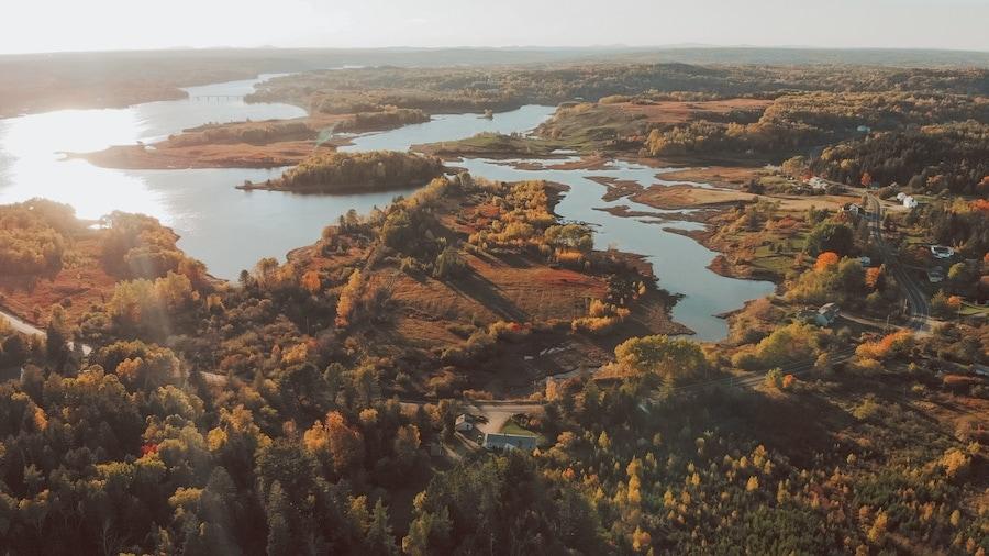 Aerial photo of Maine in autumn