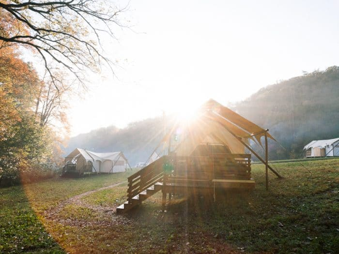 Glamping tents near Great Smoky Mountains