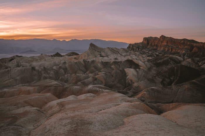 Zabriskie Point in Death Valley at sunset