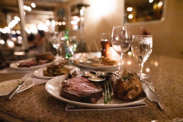 Steak dinner at the Vineyard Rose