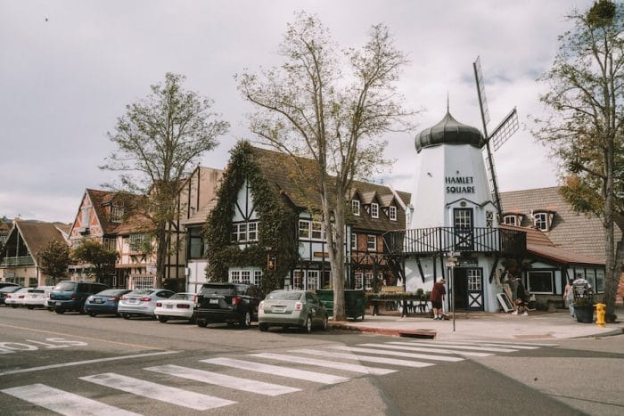 Downtown Solvang, CA in Santa Ynez Valley, one of the best wine regions in California