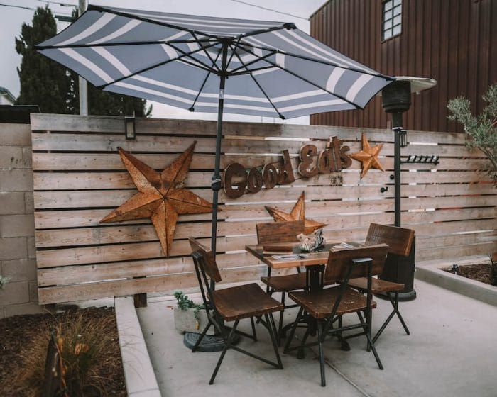 Patio at Cups and Crumbs in Santa Maria Valley, one of the best wine regions in California