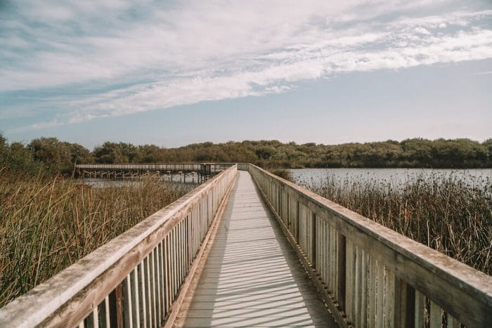 Wooden boardwalk at Oso Flaco Lake in one of the best wine regions in California