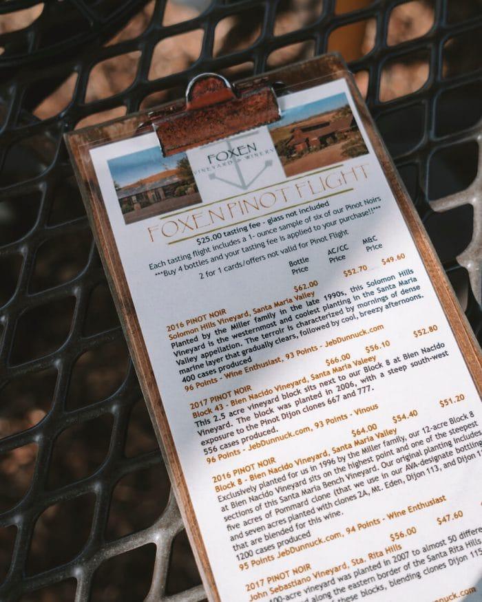 Pinot flight at Foxen Winery