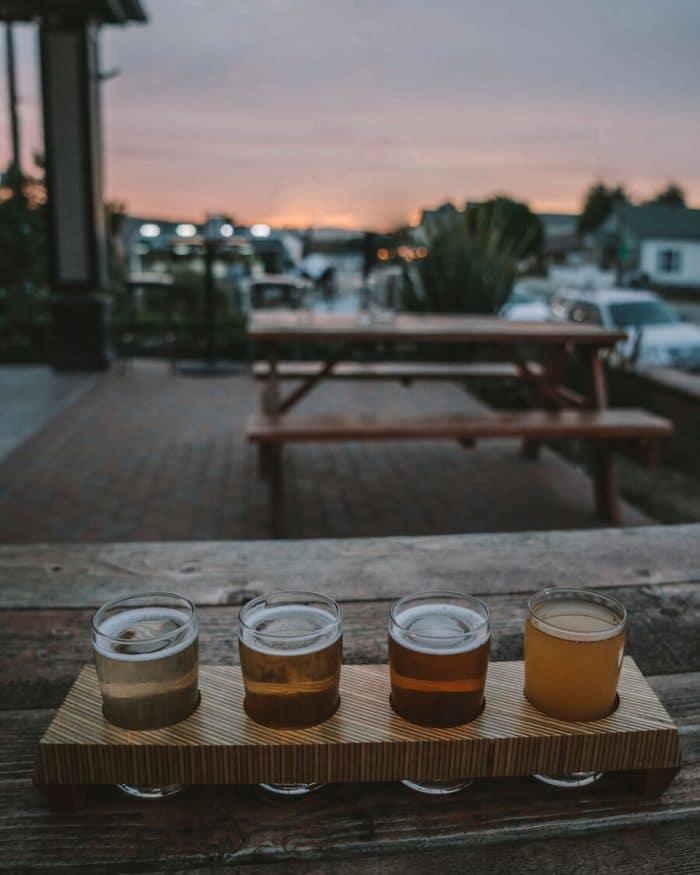 Beer flight at Naughty Oak Brewing