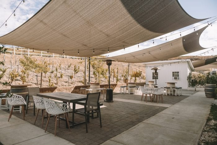 Patio at Akash Winery in Temecula, one of the best wine regions in California