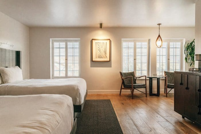 Bedroom interior at The Landsby hotel in Solvang, in the heart of one of the best wine regions in California