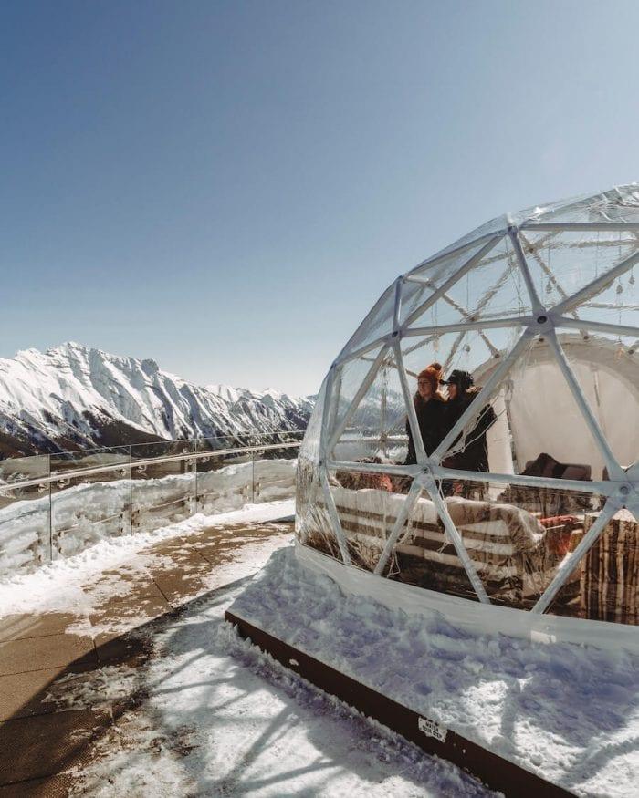 Igloo at the top of the Banff gondola
