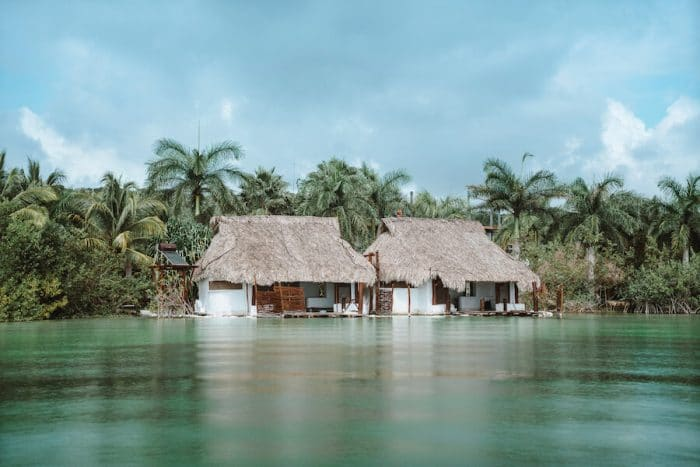 Bacalar overwater bungalows in Mexico