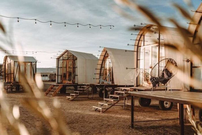 Glamping tents at Blue Sky Center in Cuyama, California