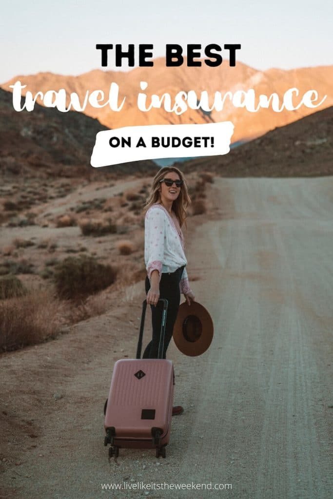 Girl on road with suitcase - Pinterest cover for best budget travel insurance