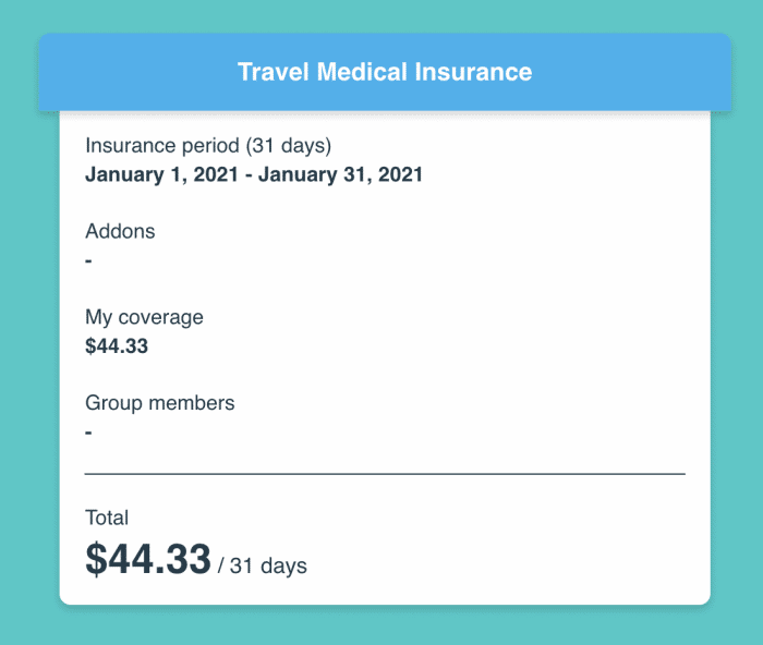 SafetyWing budget travel insurance quote