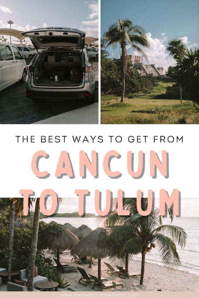 Pinterest cover for Tulum transportation guide