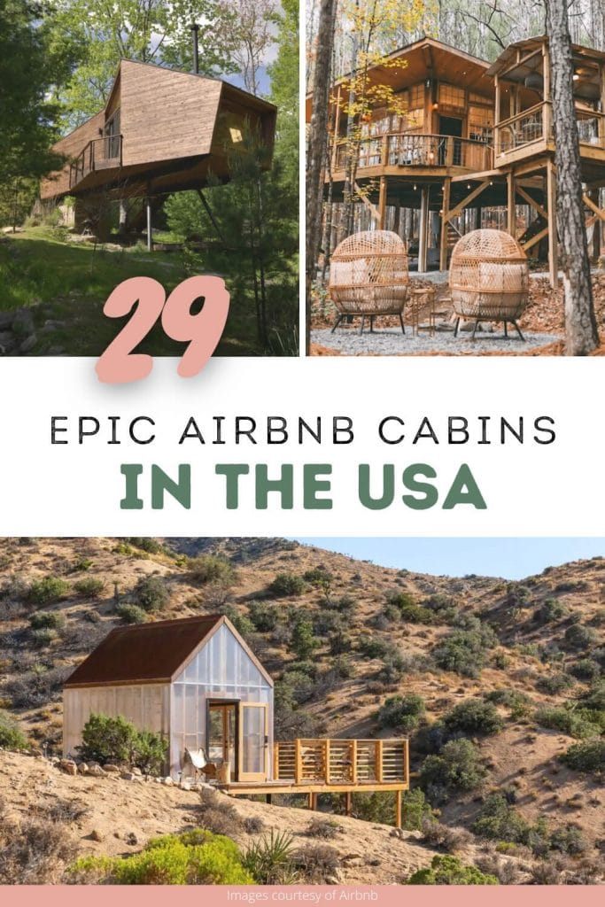 Best cozy cabin Airbnbs pin cover