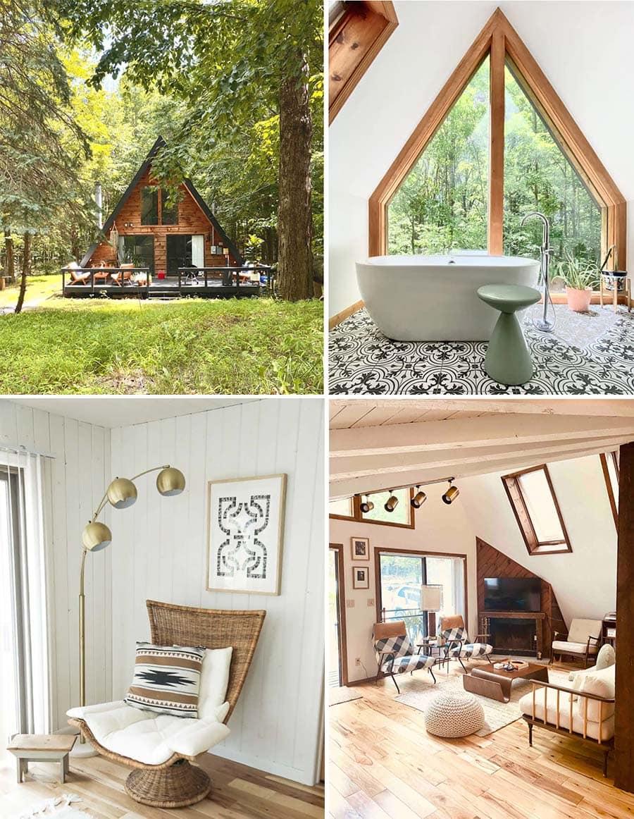Aframe cabin Airbnbs Poconos