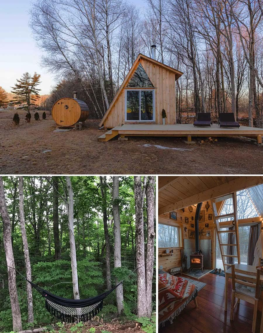 G-frame New Hampshire cabin Airbnb in the woods