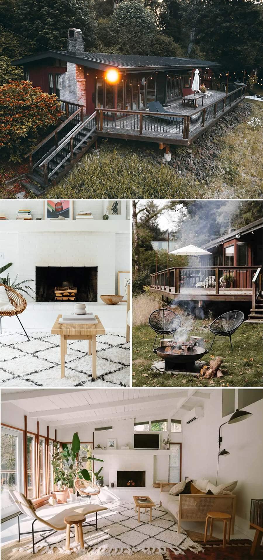 Riverfront dreamy cabin Airbnbs in Tillamook, Oregon - midcentury modren style