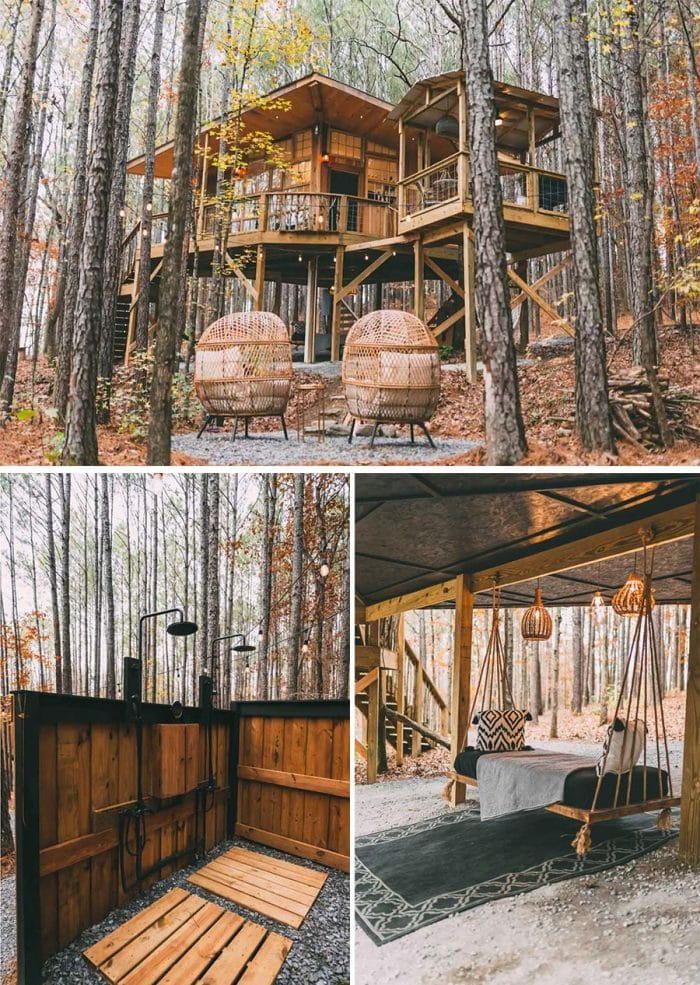 Wanderlust treehouse cabin Airbnb in Alabama