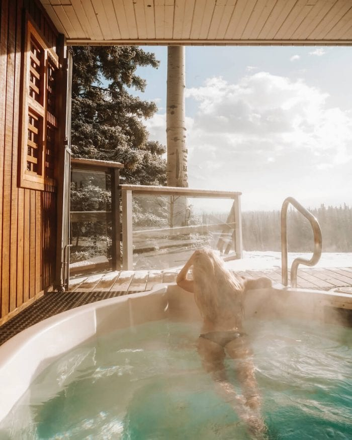 The hot tub at Juniper Hotel -where to stay in Banff