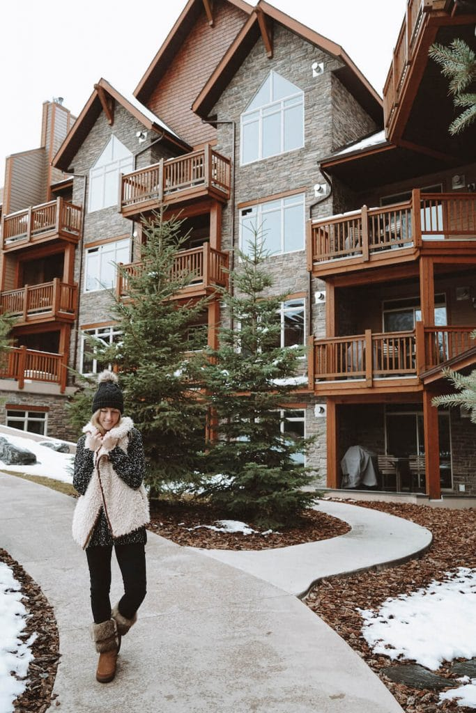 Girl bundled up outside the Stoneridge Mountain Resort