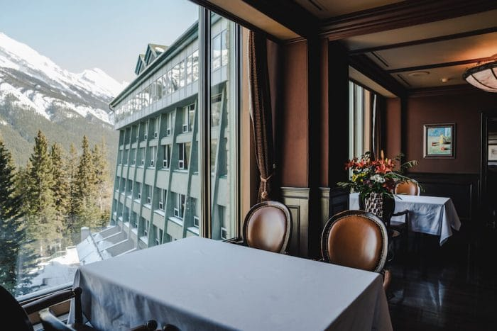 Dining area inside Rimrock Hotel -where to stay in Banff