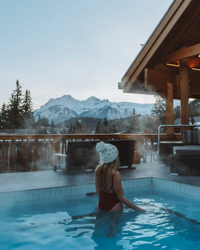 Moose Hotel rooftop hot tub in Banff