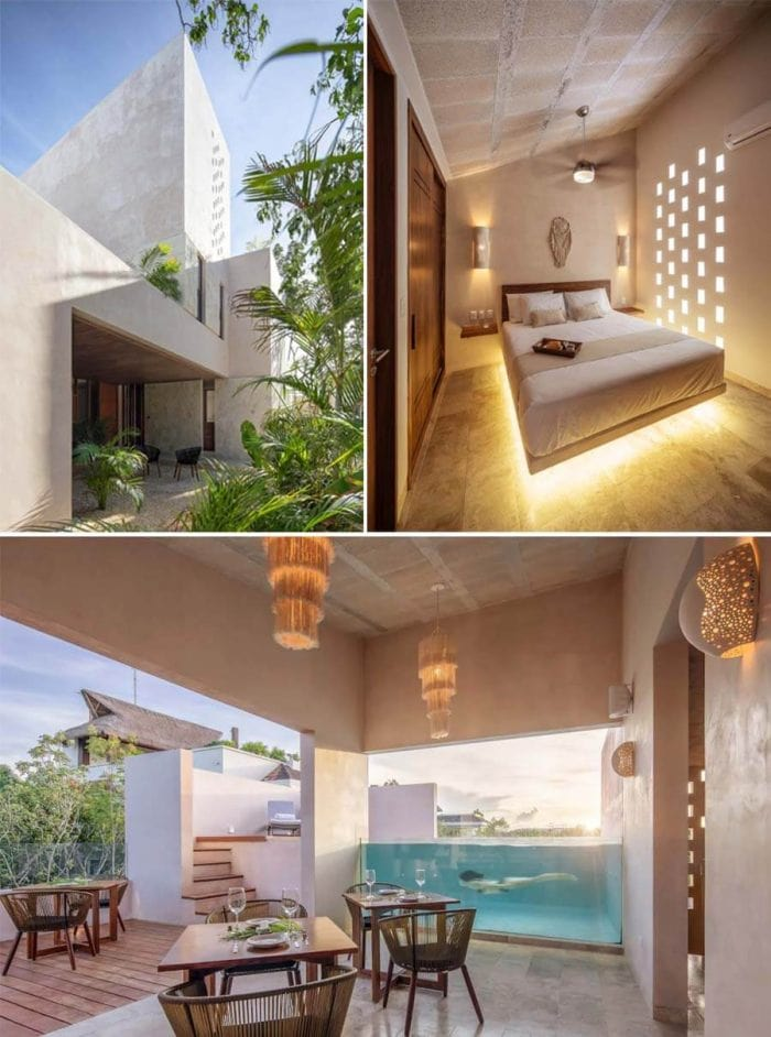 Best Airbnbs in Tulum - architectural condo with swimming pool