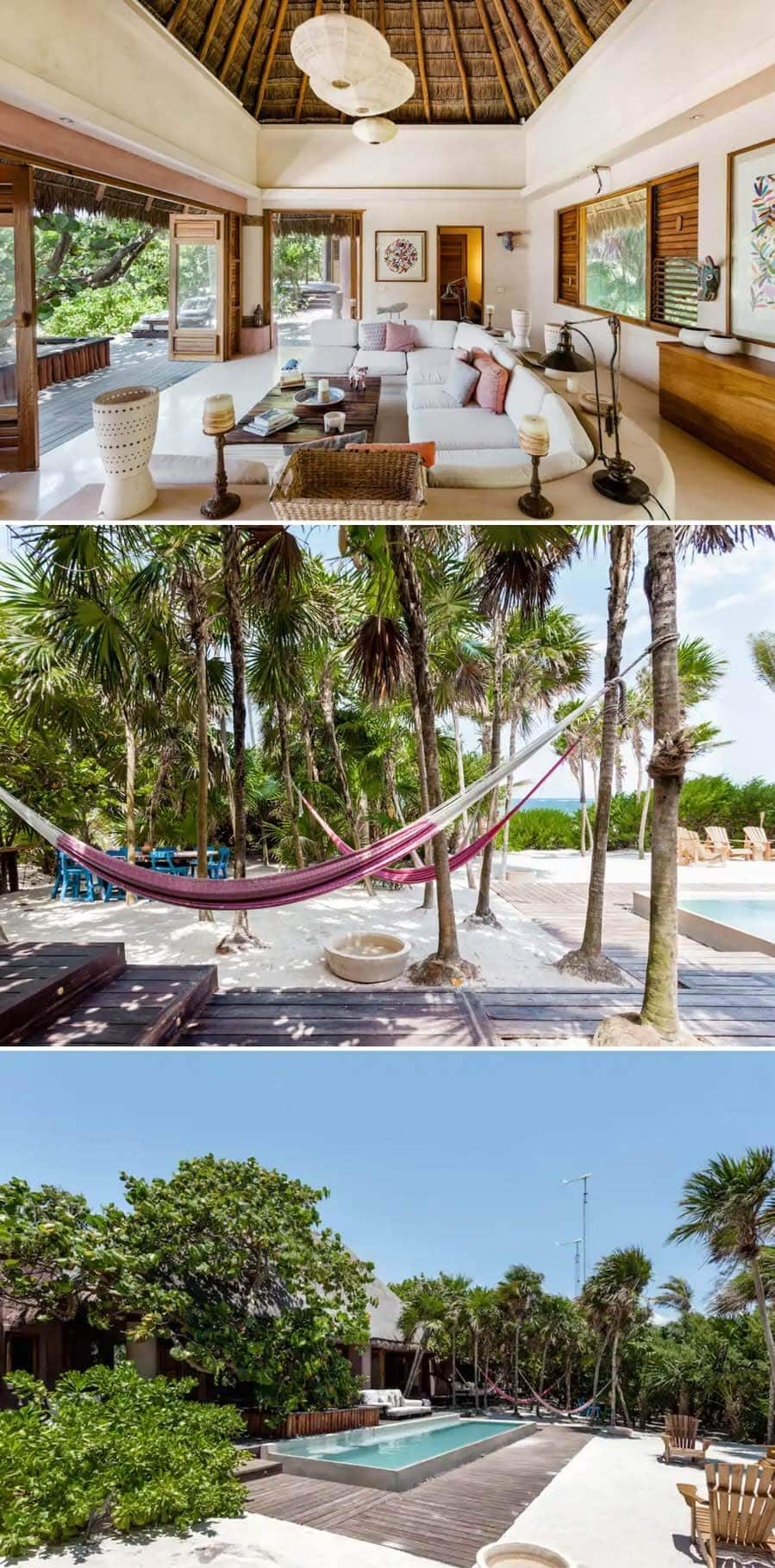 Best Airbnbs in Tulum - Luxury villa with hammocks and pool