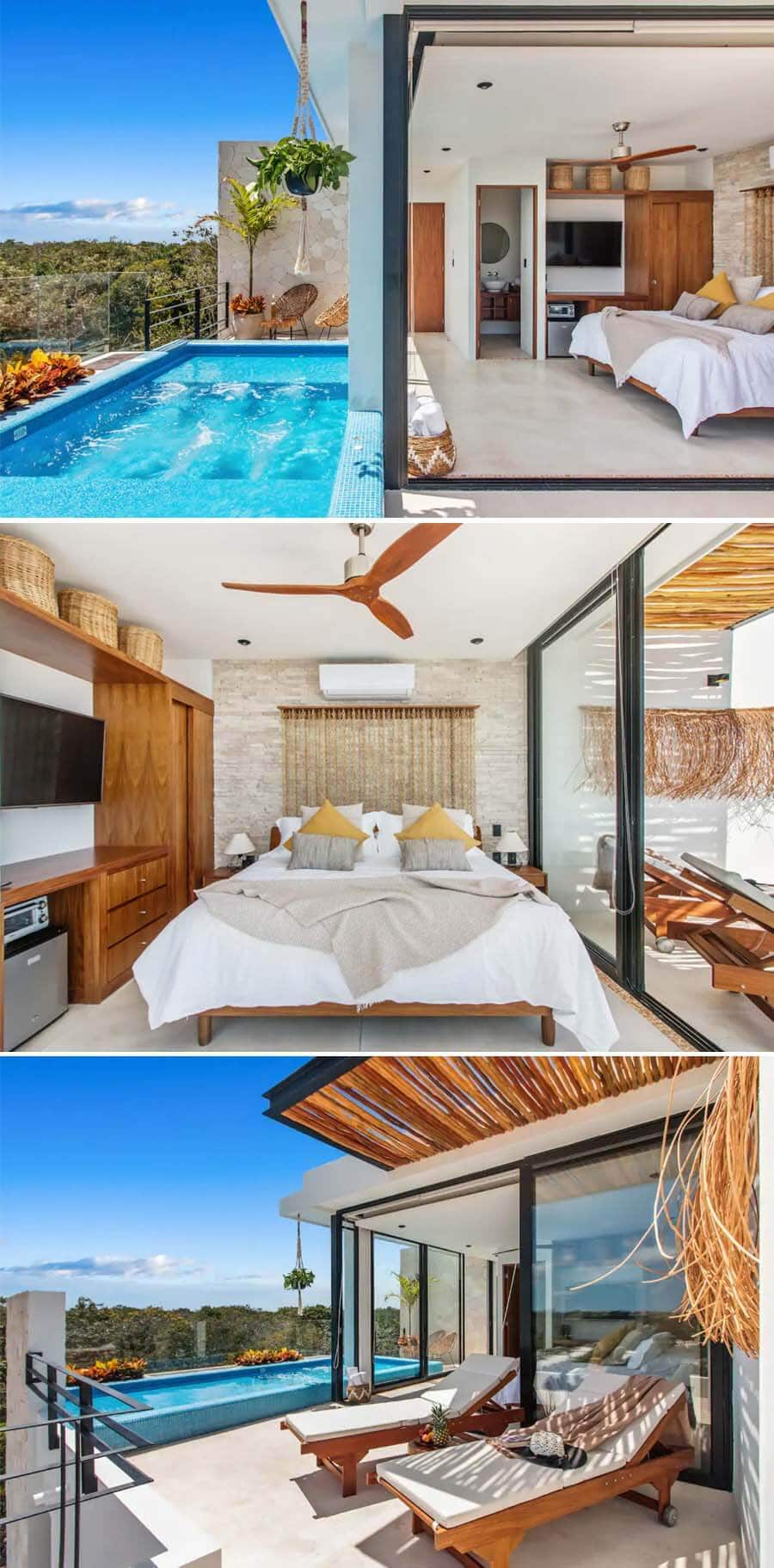 Best Airbnbs in Tulum - suite with pool and view