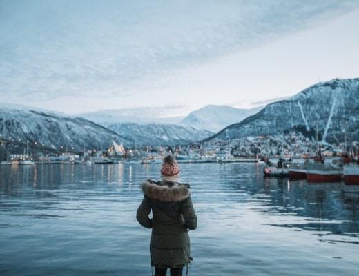Michelle Halpern at harbor in Northern Norway