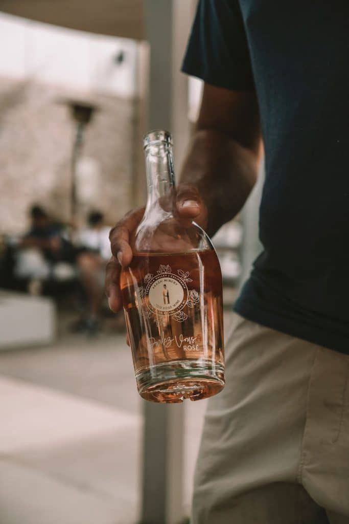 Rosé wine bottle at Akash Winery in Temecula