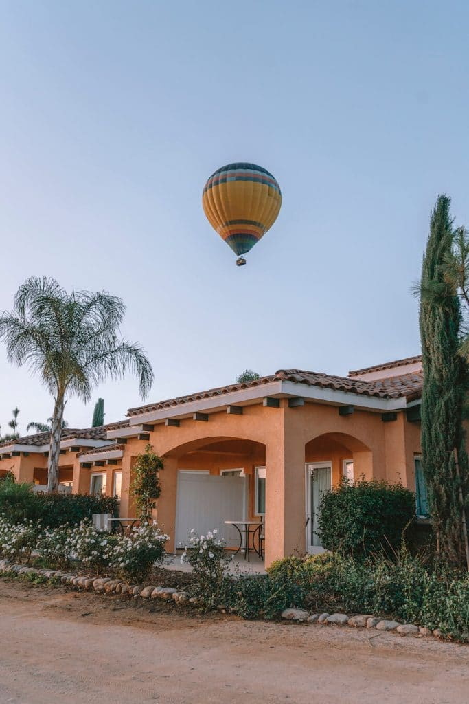 Hot air balloon flying over Carter Estate Winery